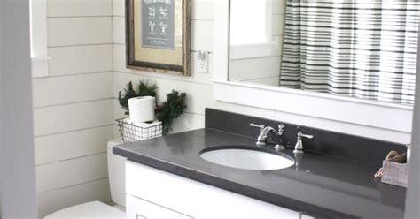 simple farmhouse christmas bathroom  shiplap quartz