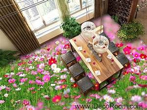 Pink White Wild Flower Grass Garden 00043 Floor Decals 3D