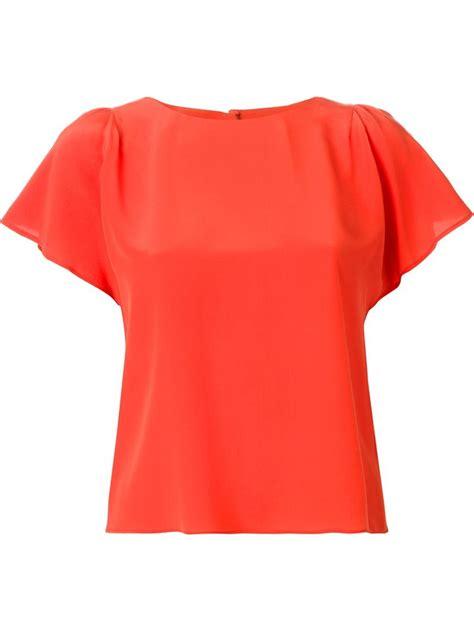 orange blouses valentino flutter sleeve blouse in orange lyst
