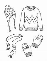 Coloring Clothes Winter Pages Printable Museprintables Outfits Printables Clip Kindergarten Wint Digital sketch template