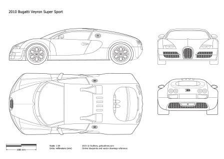 Bugatti Veyron Blueprint by Bugatti Veyron Modelos Vetor Pdf Referencias Para