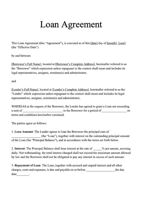 loan agreement template  loan agreement sample