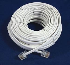 White 50 U0026 39  Ft Telephone Modular Line Cord Phone Cable