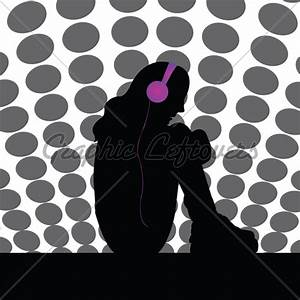 Girl With Headphones Silhouette images