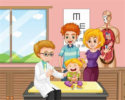 Doctor Kid Vaccine Giving Vector Cartoon Illustration