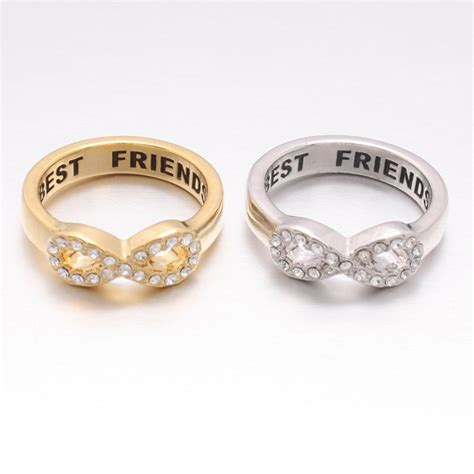 silver wedding bands crystals band ring best engraved friendship