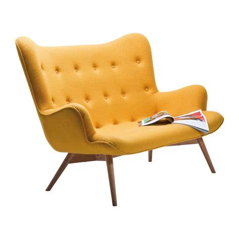 canapé banquette design canapé retro en tissu jaune wings meubles kare