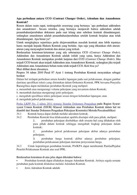 contoh adendum kontrak wood scribd indo