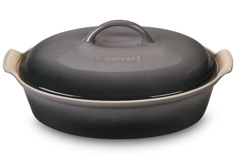 le creuset stoneware heritage covered oval casserole  quart oyster cutlery