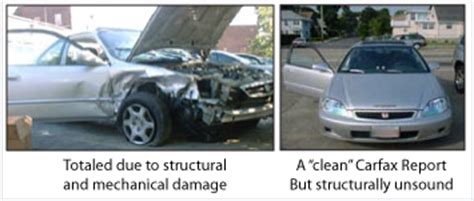 wrecked car before and after used car frame inspections