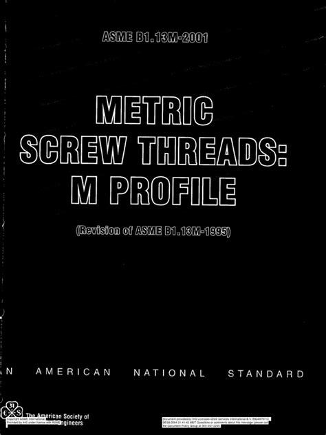 ANSI B1.13M-2001 (Metric Screw Threads-M Profile) | Screw