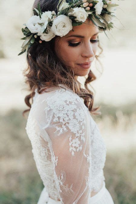 Boho Bride With Green And White Flower Crown Love