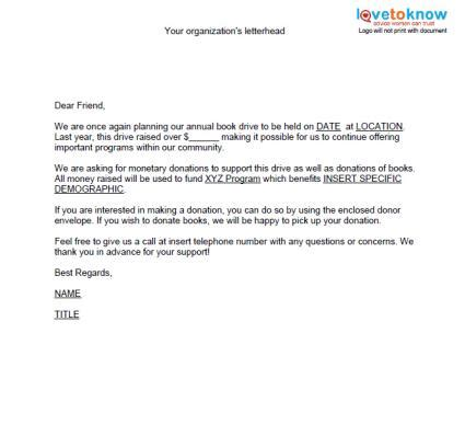 solicitation letter  donations templates  printable