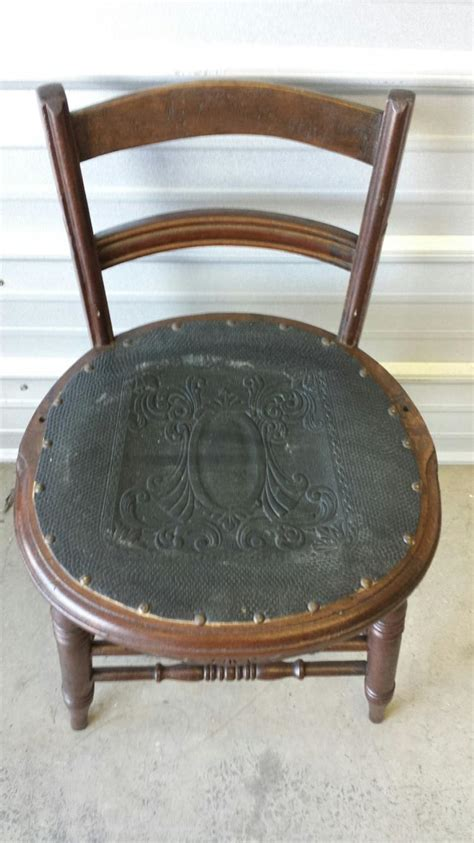 Antique Wooden Chair With Leather Seat