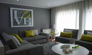 Elegant gray and green living room for Green and gray living room