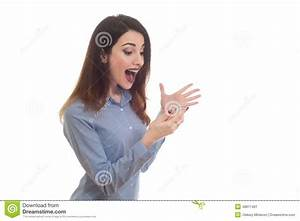 Woman Holding A Phone With Happy Reaction Reading Sms ...
