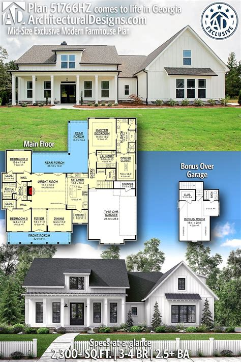 Plan 51766HZ: Mid Size Exclusive Modern Farmhouse Plan