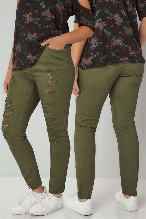 Limited Collection Khaki Distressed Skinny Jeans Plus Size 16 To 36 - limited collection khaki distressed skinny jeans plus size 16 to 36