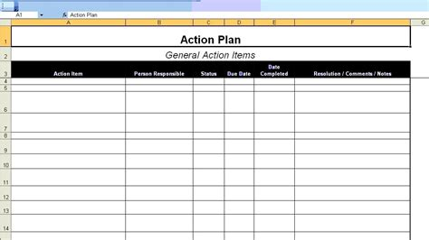 action plan template excellent plan template exle in ms excel format with table and general items