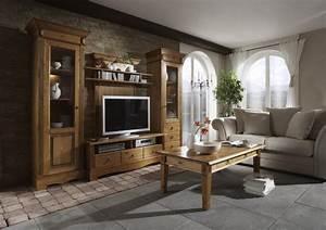 anbauwand wohnwand wohnzimmer tv regal landhausstil kiefer massiv patiniert kaufen bei saku