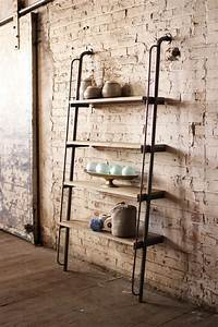 Metal And Woods : large wood and metal leaning shelving unit ~ Melissatoandfro.com Idées de Décoration