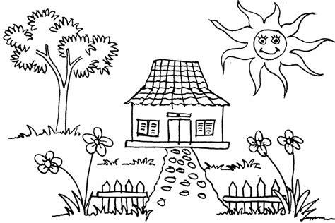 59 gambar mewarnai rumah untuk anak paud tk dan sd