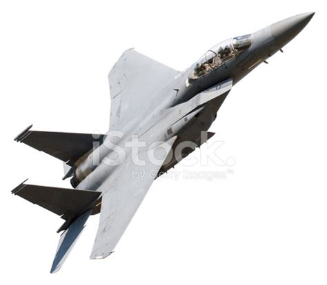 Flying Fighter Plane On White Background Stock Photos