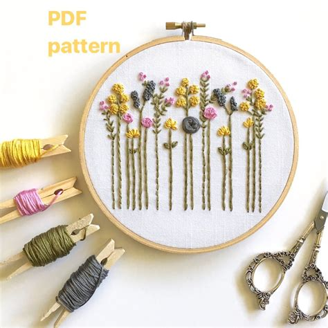 hand embroidery pattern original wildflowers digital