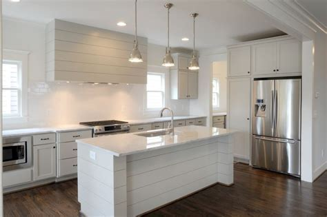 Revere Pewter Kitchen   Carrara Marble   Shiplap Vent Hood
