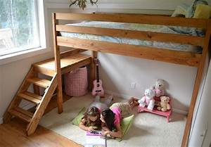 Ana White Camp Loft Bed with Stair, Junior Height - DIY