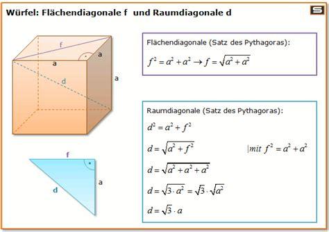 wuerfel berechnen  volumen oberflaeche raumdiagonale