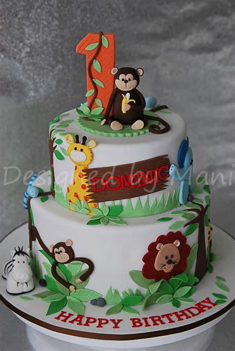 jungle themed st birthday cake cakecentralcom