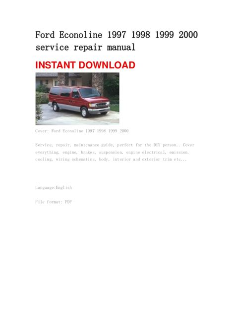 how to download repair manuals 1997 ford club ford econoline 1997 1998 1999 2000 service repair manual