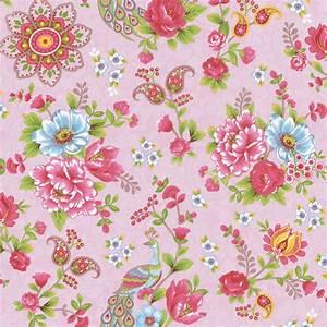 Pink Paisley Floral Wallpaper - Traditional - Wallpaper