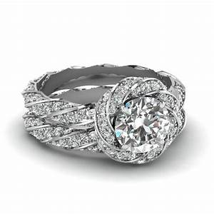 flower halo round cut diamond wedding ring set in white gold With diamond wedding rings for her