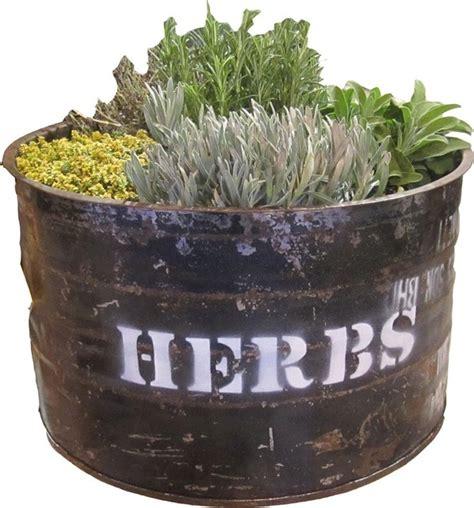 outdoor herb garden planter rustic plant pots