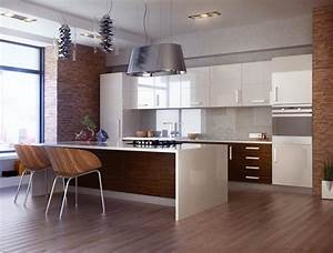 Cuisine Bois Et Blanc : cuisine bois et blanc dans un appartement en 25 id es super ~ Dailycaller-alerts.com Idées de Décoration