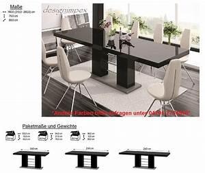 Esstisch Schwarz Ausziehbar : design esstisch he 111 schwarz grau hochglanz ausziehbar 160 210 260 cm hochglanz esstische ~ Indierocktalk.com Haus und Dekorationen