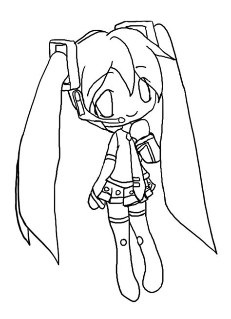 cute hatsune miku chibi drawing coloring page netart