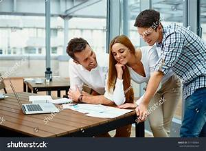 Young Happy Business People Working Modern Stock Photo ...