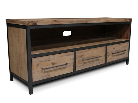 flynn modern industrial  drawer tv entertainment unit acacia