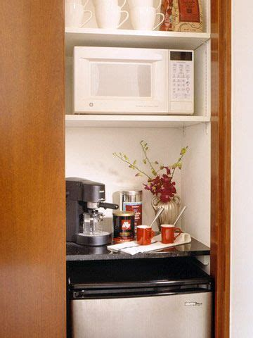 Have a coffee bar set up in your home? For a guest room - turn half of the closet into a hotel amenities station. Mini fridge ...
