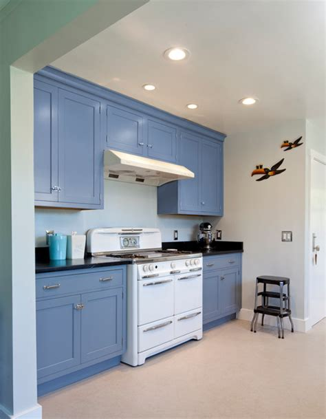 Vintage Blue Galley Kitchen  Traditional  Kitchen San