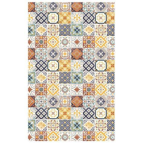 tapis de cuisine pas cher tapis motifs carreaux de ciment jaune 100x60cm toodoo