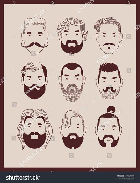 fashion man beard mustache collection vector stock vector  shutterstock