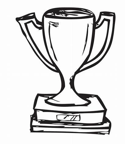 Trophy Award Clipart Coloring Outline Oscar Template