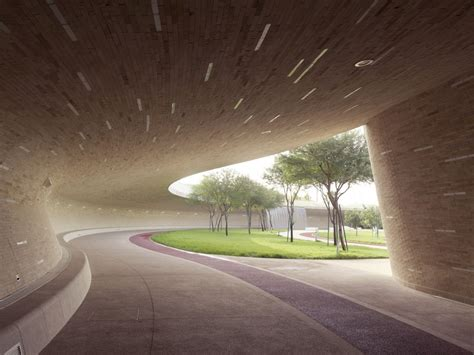 city park water and light installation is here at oxygen park education city doha e architect Inspirational