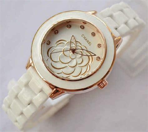 jam tangan wanita warna gold chanel flower seramik ready 2 warna pelita