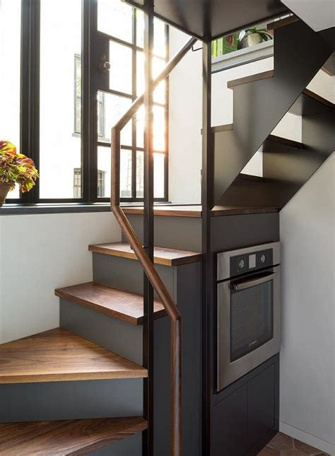 stairs stove contemporary kitchen