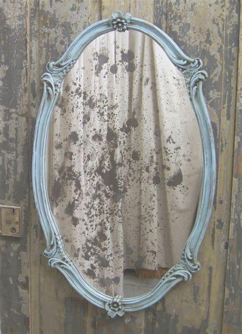 shabby aqua scalloped oval french bistro mirror chic